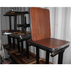 """LOT OF 7 METAL RIMMED DINING TABLES. 28""""X24""""x29"""""""