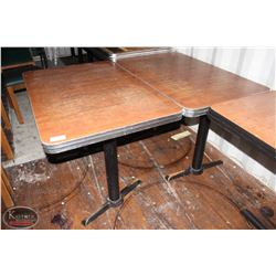 LOT OF 8 RECTANGLE METAL RIMMED DINING TABLES