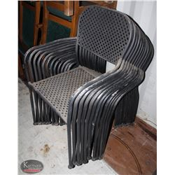 STCK OF 12 BLACK METAL PATIO CHAIRS