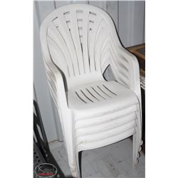 STACK OF 5 WHITE PATIO CHAIRS