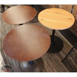 LOT OF 3 ASSORTED ROUND WOOD DINING TABLES