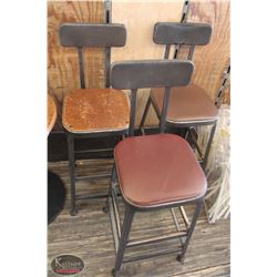 LOT OF 3 VINTAGE STYLE METAL BAR HEIGHT CHAIRS
