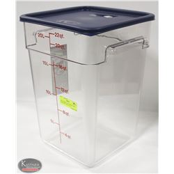 NEW CAMBRO CLEAR 22 QUART INGREDIENT BIN W/ LID