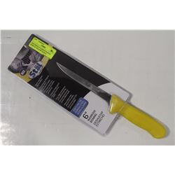 "NEW WINCO 6"" NARROW BONING KNIFE W/ YELLOW HANDLE"