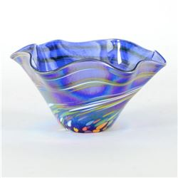 "Glass Eye Studios, ""Mini Wave Bowl (Blue Rainbow Twist)"" Hand Blown Glass Sculpture (Second)."