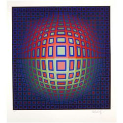 "Victor Vasarely- Original Serigraph ""Blue Composition"""
