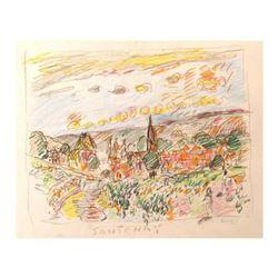 "Wayne Ensrud ""Santenay, Burgundy"" Pencil Original Artwork; Hand Signed; COA"