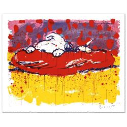 """""""Pig Out"""" Limited Edition Hand Pulled Original Lithograph by Renowned Charles Schulz Protege, Tom Ev"""