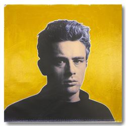 "Steve Kaufman (1960-2010), ""James Dean Yellow"" Hand Signed HC Edition Hand Pulled silkscreen mixed m"