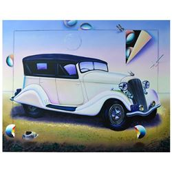 """Ferjo, """"Model Car"""" Original Painting on Canvas, Hand Signed with Letter of Authenticity."""