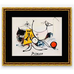 """Pablo Picasso- Lithograph on Arches Paper """"Femme sur la Plage Jouant au Balloon"""""""