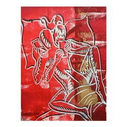 "Mark Kostabi ""Sexting (Scarlet Desire)"" Hand Signed Original Artwork with COA."