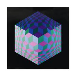 """Victor Vasarely (1908-1997), """"Hat Leg"""" Heliogravure Print, Titled Inverso."""