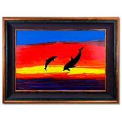 """Wyland, """"Dolphin Watch"""" Hand Signed Original Painting on Board with Certificate of Authenticity."""