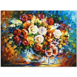 """Leonid Afremov (1955-2019) """"Roses and Wine"""" Limited Edition Giclee on Canvas, Numbered and Signed. T"""