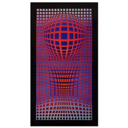 "Victor Vasarely (1908-1997), ""VP-RB"" Heliogravure Print, Titled Inverso."
