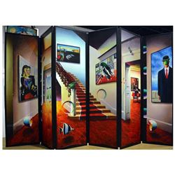 "Ferjo, Original 6-Panel Wood Folding Screen Painting (96"" x 54""), Hand Signed with Letter of Authent"