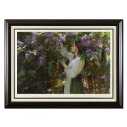 """Dan Gerhartz, """"Lilacs"""" Framed Limited Edition, Numbered 53/195 and Hand Signed with Letter of Authen"""