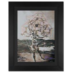 "Ringo Daniel Funes - (Protege of Andy Warhol's Apprentice - Steve Kaufman) - ""Man Ship"" Framed One-o"