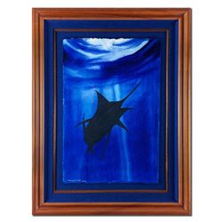 """Wyland, """"Marlin"""" Hand Signed Original Painting with Certificate of Authenticity."""