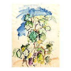 """Wayne Ensrud """"Grapevines"""" Watercolor Original Artwork; Hand Signed; COA"""