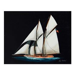 "Alex Blokhin, ""Two Masted Schooner"" Original Oil Painting on Canvas, Hand Signed with Letter of Auth"