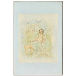 """The Forest Friend"" Limited Edition Lithograph by Edna Hibel (1917-2014), Numbered and Hand Signed w"