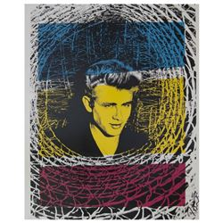 "Peter Tunney, ""James Dean (Color)"" Hand Signed Original Mixed Media with Certificate of Authenticity"