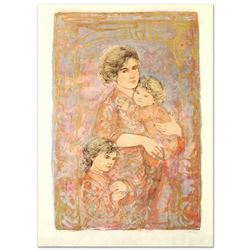 """""""Mona and Family"""" Limited Edition Lithograph (25"""" x 38"""") by Edna Hibel (1917-2014), Numbered and Han"""