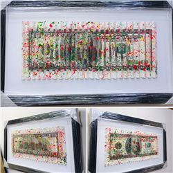 """E.M. Zax- One-of-a-kind 3D polymorph mixed media on paper """"$100 Bill"""""""