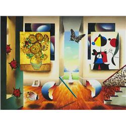 """Ferjo """"MIRO AND SUNFLOWERS"""" Giclee on Canvas"""