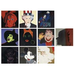 """Andy Warhol- 10 Screenprints in colors, (all with diamond dust except Dracula) """"Myth"""""""