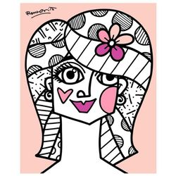 """Romero Britto """"Hair Do"""" Hand Signed Limited Edition Giclee on Canvas; COA"""