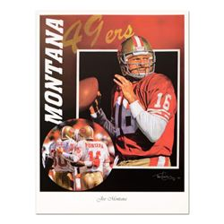 """Tim Cortes - """"Glory Days"""" Collectible Poster Featuring Hall of Famer Joe Montana of the San Francisc"""