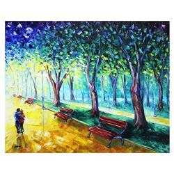 """Svyatoslav Shyrochuk- Original Oil on Canvas """"Hugging in Park"""""""