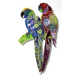 "Patricia Govezensky- Original Painting on Laser Cut Steel ""Two Parrots XVIII"""