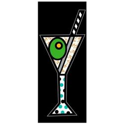 """Romero Britto """"Black Martini"""" Hand Signed Limited Edition Giclee on Canvas; Authenticated"""