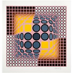 "Victor Vasarely- Original Serigraph ""Pink Composition"""