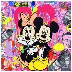 """Jozza, """"Friends Forever"""" Hand Signed Original Mixed Media on Canvas with COA."""
