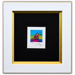 """Peter Max- Original Lithograph """"Cosmic Sailboat (Mini)"""""""
