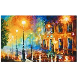 """Leonid Afremov (1955-2019) """"Misty City"""" Limited Edition Giclee on Canvas, Numbered and Signed. This"""