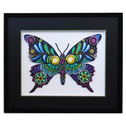"Patricia Govezensky- Original Painting on Laser Cut Steel ""Butterfly CCXV"""