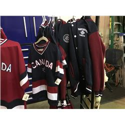 7 ASSORTED CHILDRENS SIZED CANADA BRANDED JERSEYS & 4 CANADA BRANDED JACKETS