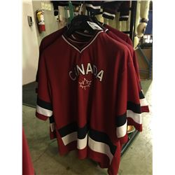 5 ASSORTED SIZED CANADA BRANDED JERSEYS