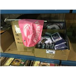 2 BOXES OF CANUCK FLAGS, CLOCK, SIGNS, DISPLAY STANDS & SOUVENIR ITEMS