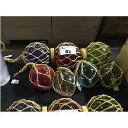 ASSORTED SIZE & COLOR DECORATIVE GLASS FISHING BULBS