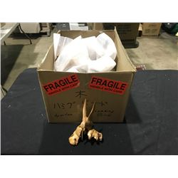 BOX OF CARVED WOODEN HUMMING BIRD STATUES