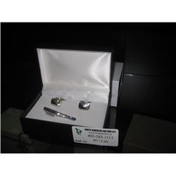 SILVER CUFFLINKS AND TIE CLIP W/ BOX