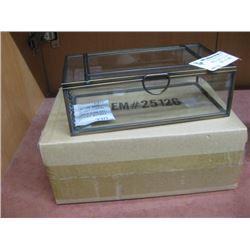 BRASS AND COPPER GLASS TRINKET BOX W/ BOX