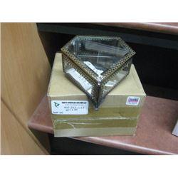 GLASS PENTAGON TRINKET BOX W/ BOX
